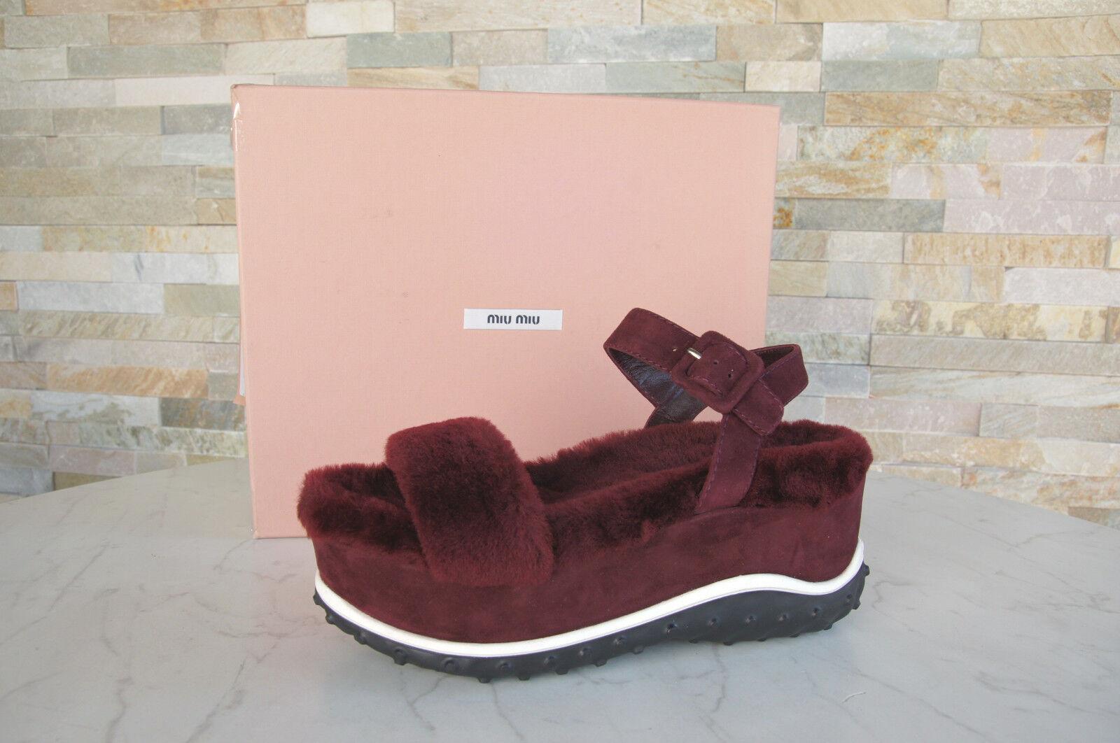 Miu Sandalias Miu Gr 35,5 Sandalias Miu con Plataforma Cuñas Zapatos Piel de Oveja Rojo Nuevo eba874