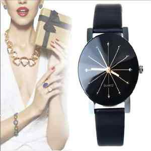 2016 Fashion Women's Date Leather Stainless Steel Analog Quartz Wrist Watch Gift