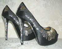 Rrp £120 Nine West Size 3 / 7 Comearound2 Black Silver Satin Sequin Court Shoes