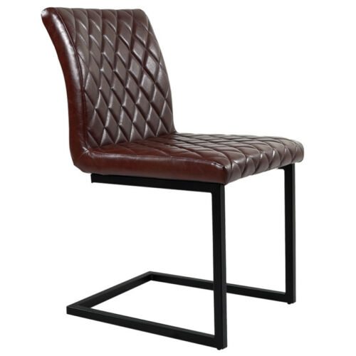 Chrome Cantilever Chairs PU Leather Padded Diamond Pattern F// Office Dining Room