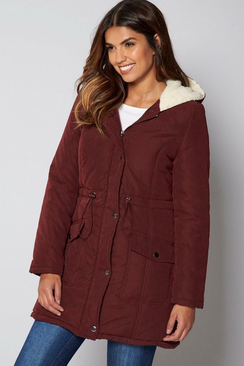 Be You Ox Blood Padded Parka with Sherpa Lined Hood Size 20