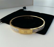 Michael Kors Bangle Gold Chunky Plaque Bangle Bracelet w/ a pouch