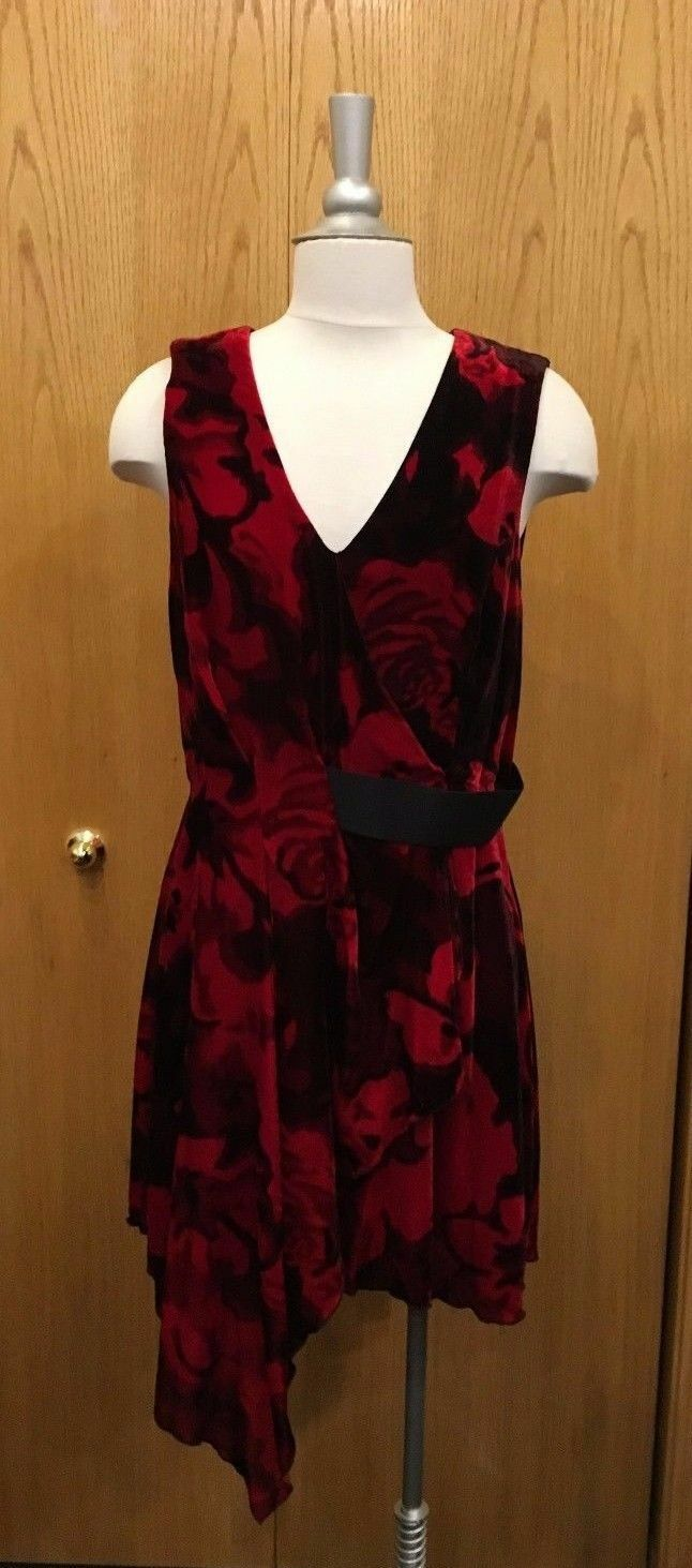 Rachel Roy Riche Rouge et Noir Imprimé Robe sans Manches, Taille 4 643 - 08