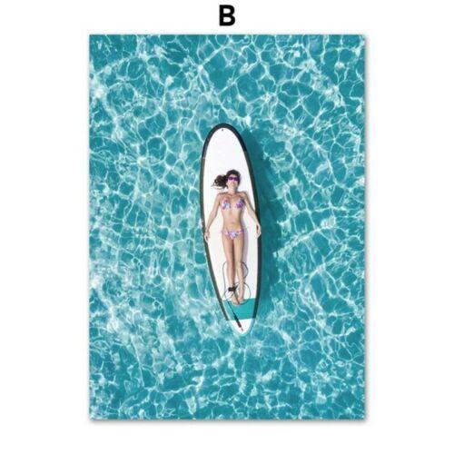 Almudena® Surfing Girl Pineapple Sea Beach Wall Art Canvas Painting Nordic