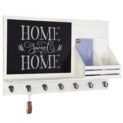 100% Waar White Wood Wall-mounted Organizer With Chalkboard, Mail Sorter,shelf & Key Hooks