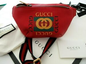 d3e259747027b3 Image is loading Gucci-Captain-Fanny-Pack-waist-bag-Red-NEW-