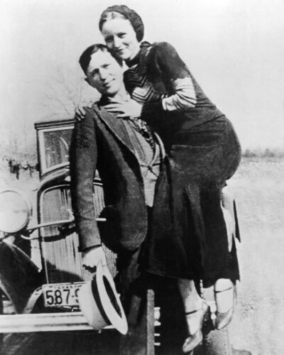 1933 Bank Robbers BONNIE and CLYDE Glossy 11x14 Photo Criminal Print Poster