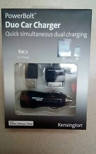 (NEW) PowerBolt DuoCar Charger for OLDER iPad, iPod iPhone iOS 3.0 or later