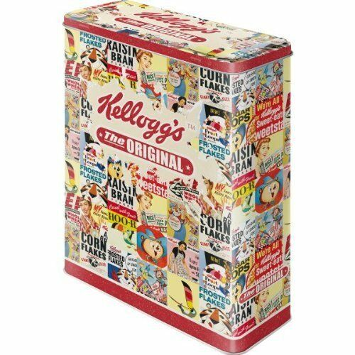 Retro KELLOGGS Corn Flakes Original Collage STORAGE Extra LARGE TIN Cookie Jar