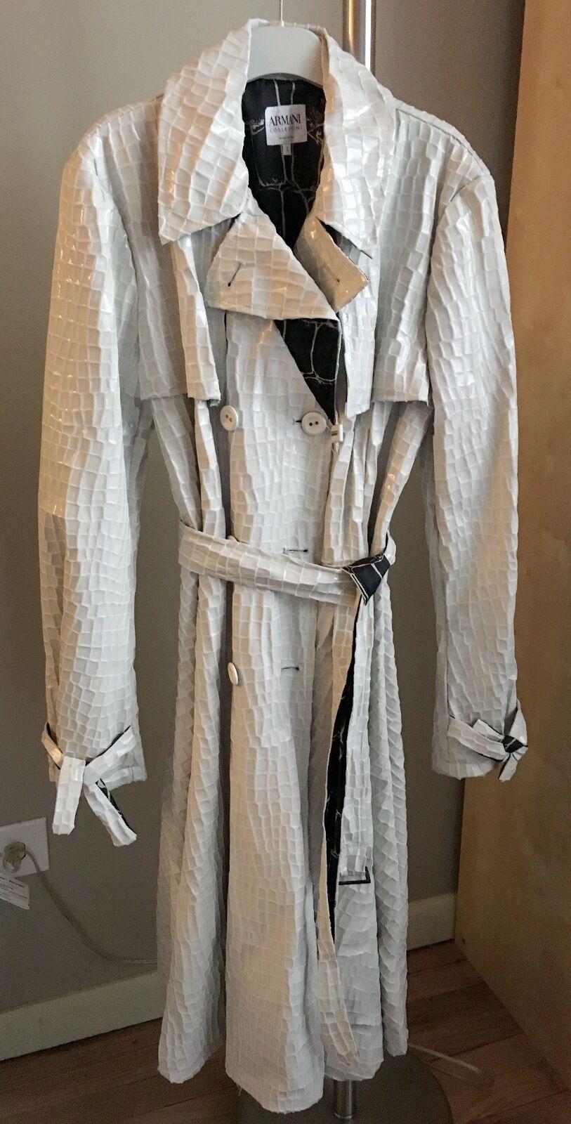 Armani Collezioni - Beige Animal Textured Trench Coat - sz 8