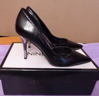 Nine West Uk4w Eu37w Us6w Black Synthetic Court Shoes With Metallic Heels