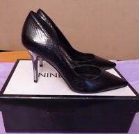 Nine West Uk4w Eu37w Us6w Black Synthetic Court Shoes With Metallic Heels