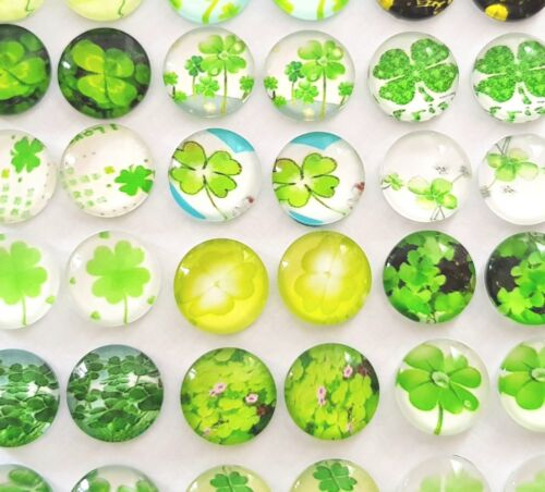 20 FOUR LEAF CLOVER CABOCHONS-12MM-GLASS//FLATBACKGOOD LUCK-LUCKY CHARM-CABOCHON