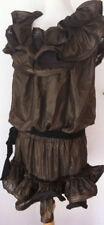 Original Lanvin HM festliches Kleid Party GOLD/BRONZE Rüschen ruffle 36 38 40