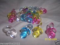 Baby Shower Medium Plastic Pacifiers 1 1/4 Party Favors Pink Blue White Yellow