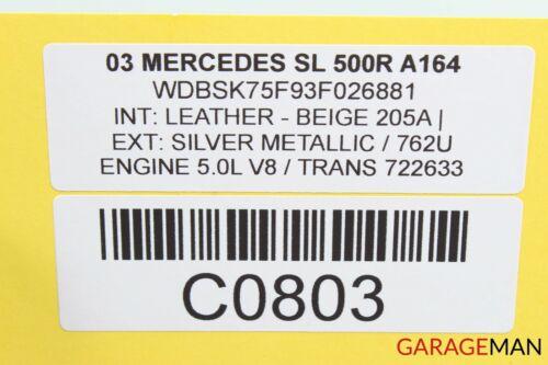 03-11 Mercedes R230 SL500 Convertible Left Main Top Drive Lift Cylinder OEM