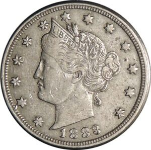 """1883 5C LIBERTY V NICKEL """"WITH CENTS"""" XF DETAILS - LIGHTLY CLEANED  (050721419)"""