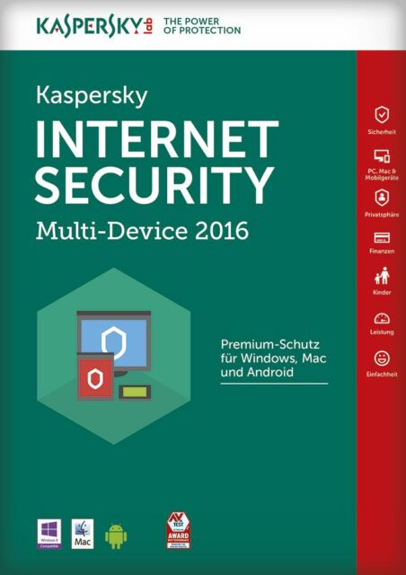 Kaspersky Internet Security MD 2016 | 1 Geräte | 1 Jahr | PC/MAC/Android, ESD