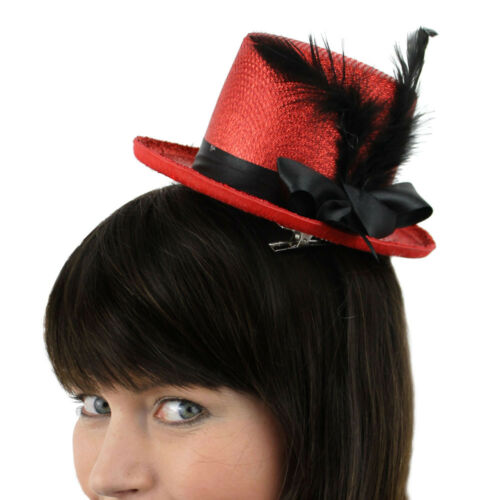 FASCINATOR COWBOY BOWLER RED NOSE DAY HAT CHOOSE FROM RED TOP HAT FEDORA