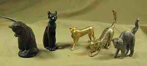 LOT-de-5-differentes-STATUETTES-de-CHAT-TFM-MEDAILLER-FRANKLIN