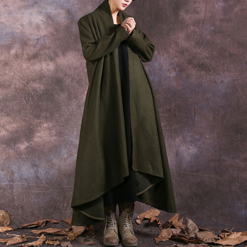 Jackets Loose Long Casual Outwear Sleeve Warm Cardigans X Coat Womens Asymmetric Aw78qPpp