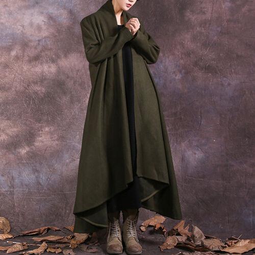 Kvinder Solid Outwear Cardigans Grøn Jakke Casual Langærmet Fit Loose Frakke rqrTSa
