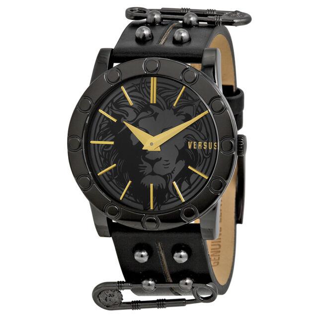 Versus by Versace Miami Black Dial Black Leather Ladies Watch SF7060014