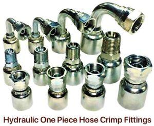 Crimp-One-Piece-Hydraulic-JIC-Hose-Fitting-Fittings-1-4-034-3-8-034-1-2-034-Hose