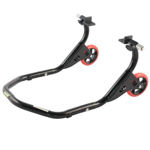 Rear Motorbike paddock Stand Adjustable rubber weels Black universal