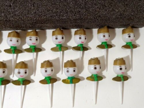 Boy Scouts Cupcake Picks Cake Topper Lot of 20 Vintage Green Plastic