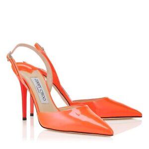 Neon Orange Patent Leather Pumps 40