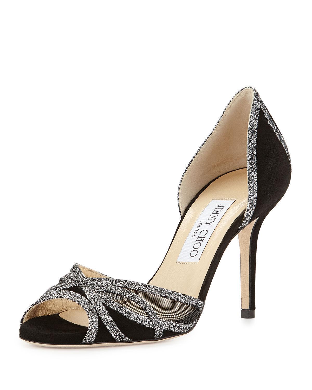 design semplice e generoso Jimmy Choo MUSTIQUE Glitter Trim nero Suede Suede Suede d'Orsay Peep Toe Sandal scarpe 9 -8.5  risparmia fino al 30-50% di sconto