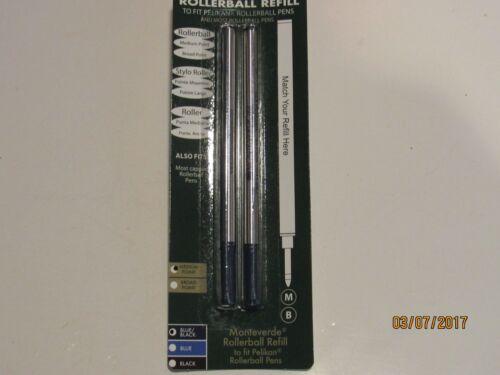 2 BLUE BROAD ROLLERBALL REFILL-FIT PELIKAN PEN