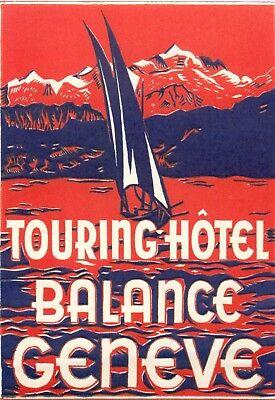 GENEVE SWITZERLAND  HOTEL LES BERGUES VINTAGE DECO  LUGGAGE LABEL