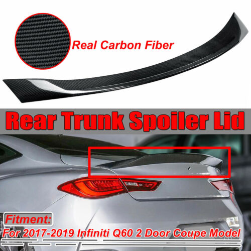 JDM Style High Kick Real Carbon Fiber Trunk Spoiler For Infiniti Q60 Coupe 17-19