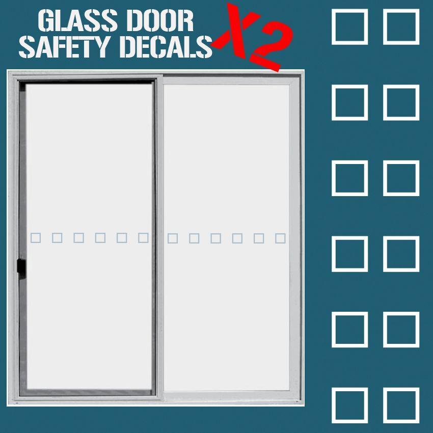 Glass Door Hazard Protection Decal Sticker Set Safety Glass Door
