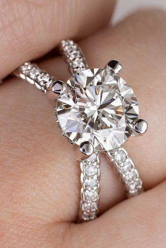 1ct Round Cut Diamond Reverse Split Accent Engagement Ring 14k White gold Finish