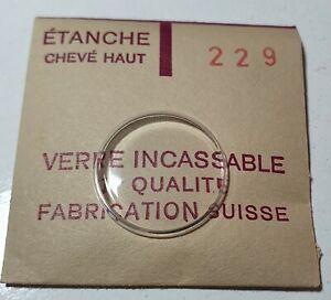 Verre-de-montre-suisse-bombe-plexi-diametre-229-Watch-crystal-vintage-NOS