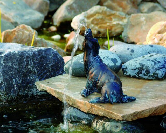 Wasserspeier Seehund Teichfigur Teich Garten Figur Springbrunnen Dekoration OVP