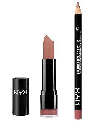 NYX Round Lipstick Thalia LSS529 + Slim Lip Liner Mauve SPL831 SET