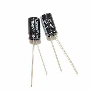50PCS 50V 47uF 50Volt 47MFD 105C Aluminum Electrolytic Capacitor 6×7mm