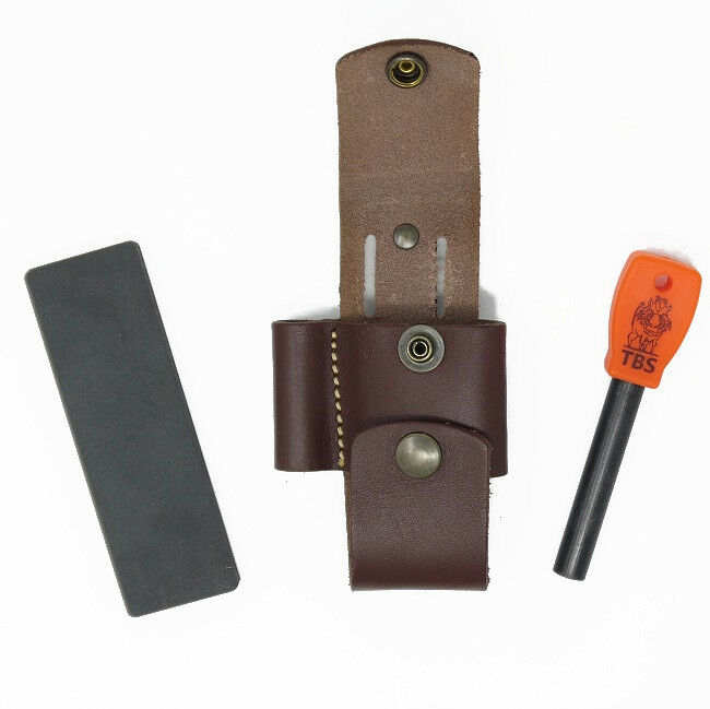 TBS LEATHER Firelighting Kit - TBS Firesteel & Sharpener in leather pouch
