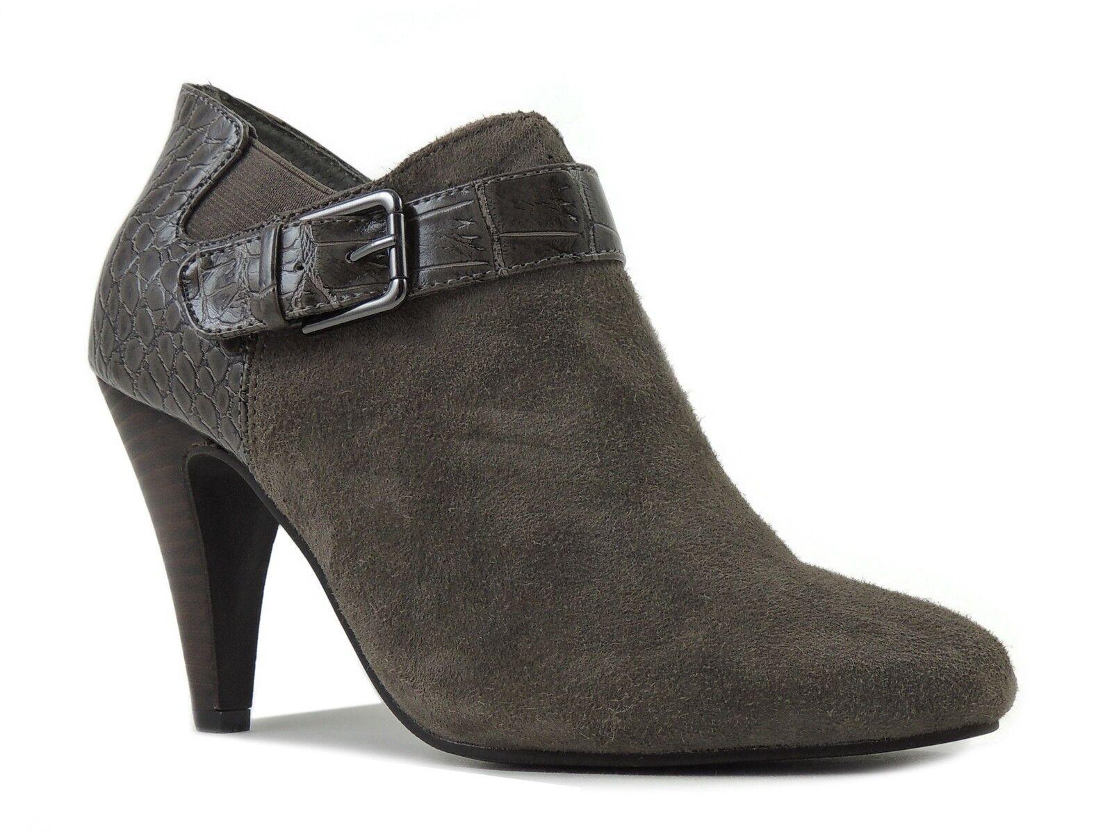 Alfani Botines Para Mujer De Shirlee gris Cálido Cuero y PU Croco Talla 5.5 M