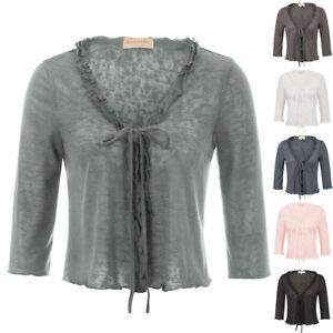 Womens-3-4-Sleeve-Cardigan-Knit-Sweaters-Cropped-Open-Front-Shrug-Bolero