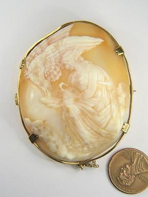 ANTIQUE GOLD FINELY CARVED SHELL CAMEO PIN BROOCH c1860 HEBE & ZEUS EAGLE