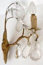 Belle APPLIQUE Ancienne en Bronze doré et Pampilles de Cristal Lampe