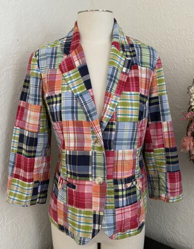 LL Bean Blazer Jacket Madras Plaid Patchwork Multi