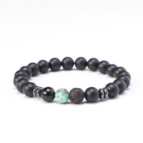 Pulsera socio piedra natural Onyx perlas piedra pómez perla regalo señora caballero nuevo