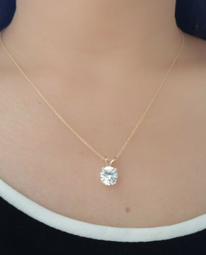 1ct Natural VS White Sapphire Solitaire Solid 14K Yellow Gold Pendant Necklace