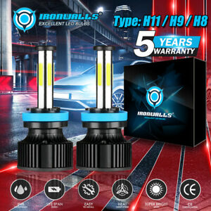 IRONWALLS-H11-H9-H8-LED-Headlight-Bulbs-6500K-White-Low-Beam-or-Fog-6-Sided-F-A9